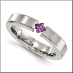 4mm Edward Mirell Titanium Band with Princess Cut Amethyst