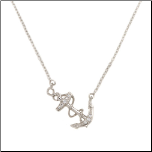 "15+1"" Sterling Silver  and CZ Sideways Anchor and Rope Necklace"