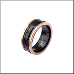 10mm Ip Rose  Gold & Ip Black Stainless Steel Ring w/ Inlaid Cables