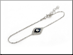 "6.5+1"" Italian Sterling Silver and CZ Evil Eye Chain Bracelet"