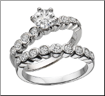 Sterling Silver and CZ Wedding Ring Set