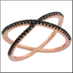 "Rose Gold Sterling Silver ""X"" Ring with Black CZs"