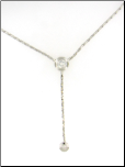 "17"" Rhodium Plated Cobra Chain Lariat Necklace with 2 Bezel Set CZs"