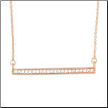 "14+2"" Rose Gold Plated CZ Bar Necklace"
