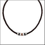 "19.5"" Inox Braided Brown Leather Necklace w/ Ip Black&Brown Beads"