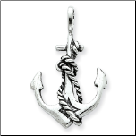 Antiqued Sterling Silver Anchor and Rope Pendant