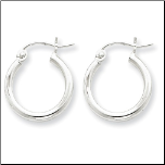 15mm Sterling Silver Hoop Earrings