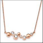 "16+1"" Rose Gold Over Sterling Silver and CZ Bubble Bar Necklace"