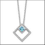 "16+1""  Sterling Silver Genuine Blue Spinel and CZ Necklace"