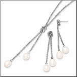 Sterling Silver & White Freshwater Pearl Knot Necklace & Earring Set