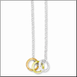 "16"" Sterling Silver Necklace w/3 Rings(Silver,Rose Gold&Gold Vermeil)"