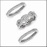 Sterling Silver and CZ 3 Piece Wedding Band Set