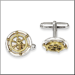 Sterling Silver and Gold Vermeil Ship's Wheel Cufflinks
