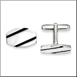 Sterling Silver Cufflinks with 2 Black Enamel Stripes