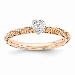Rose Gold Plated Sterling Silver Stackable Heart Shaped Diamond  Ring