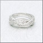 Rhodium Plated Ring with Braided Rows of CZs