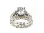 8mm Center CZ Engagement Ring and Matching CZ Wedding Ring