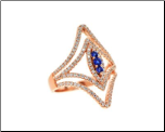 "Rose Gold Sterling Silver Double ""V"" Shaped Ring w/ Clear&Sapphire CZs"