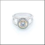 Rhodium Plated CZ Halo Ring with Twisted Band