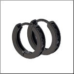 Black Stainless Steel Huggie Earrings with Black CZS