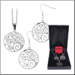Stainless Steel Filigree Necklace and Earring Set from Inox