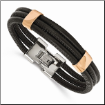 "8"" Chisel Black Leather Bracelet with Ip Rose Gold Accents"