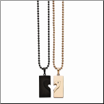 "22"" Ip BLack & Ip Rose Gold Stainless Steel Couples Necklace Set"