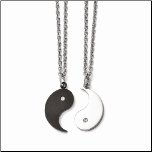 "20"" Chisel 2 Piece Stainless Steel and CZ Ying/Yang Necklace Set"
