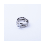 Stainless Steel CZ  Wedding Band/ Engagement Ring Set