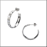 25mm Inox Matte Stainless Stee&Crystal Post Back Hoop Earrings