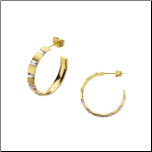 25mm Inox Ip Matte Gold Stainless Steel & Baguette Crystal Hoops