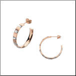 25mm Inox  Ip Rose Gold Stainless Steel and Crystal Hoop Earrings
