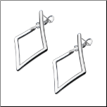 20mm Inox Stainless Steel Diamond Shape Lever Back Hoops