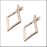 20mm Rose Gold Stainless Steel  Diamond Shaped Lever Back Hoop Earrings