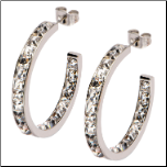 30mm Inox Classic In & Out Hoop Earrings with Princess Cut CZS