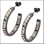 30mm Inox Ip Black In & Out Hoop Earrings with Princess Cut CZs