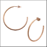 32mm Stainless Steel Ip Rose Gold Hammered Hoop Earrings