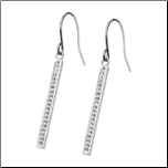 "1.5"" Dangling Stainless Steel and Crystal Bar Earrings"