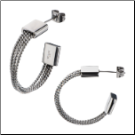 23mm Inox Overlapping Stainless Steel Cable Hoop Earrings