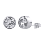 Inox 5mm Stainless Steel Bezel Set CZ Stud Earrings