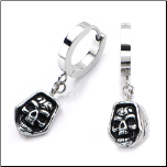 Inox Dangling Hoodie Skull Huggie Earrings