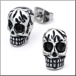 Inox Antiqued Stainless Steel Cracked Skull Earrings