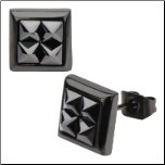 Inox Ip Black Steel Square Earrings w/4 Pyramid Shaped Hematite Crystals