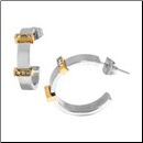 20mm Two-tone Stainless Steel and CZ Hoop Earrings From Inox