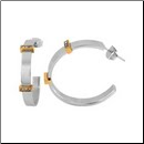 30mm Stainless Steel and CZ Hoop Earrings From Inox