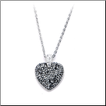 "16+2"" Inox Stainless Steel Heart Pendant with Black and Clear Diamond Gems"