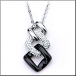 "16+2"" Inox Stainless Steel Black, White, and Silver Pendant & Chain"