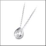 "16+2"" Inox Stainless Steel Bezel Set Tear Drop CZ Pendant and Chain"