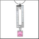 "16"" Inox Stainless Steel Pendant with Pinks and Clear CZ s and Chain"