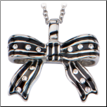 "16+2"" Inox Stain;less Steel and CZ Bow Pendant and Attached Chain"
